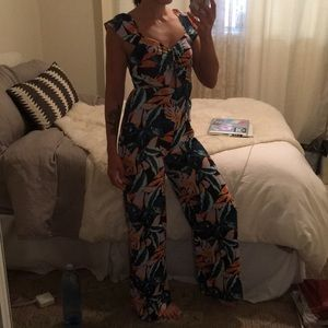Retro Tropical Print Pullover Jumpsuit